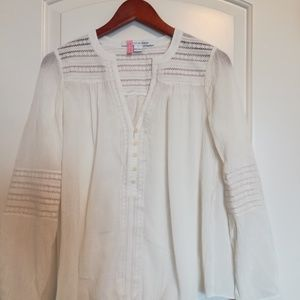 Diane von Furstenberg White Cotton Shirt with Lace
